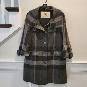Burberry plaid wool coat size 10